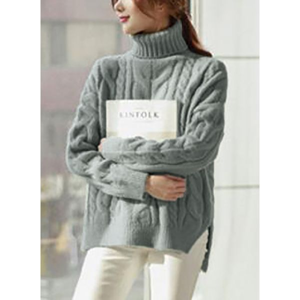 High Neckline Solid Loose Sweaters (1675235943) 1