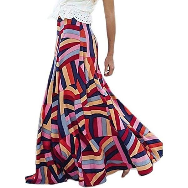 Color Block Maxi Casual Skirts (1725380849) 1