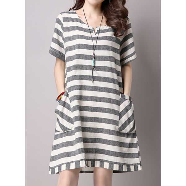 Stripe Short Sleeve Above Knee Shift Dress (1955126360) 2