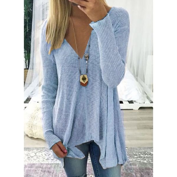 V-Neckline Solid Loose Long X-line Sweaters (01675321134)