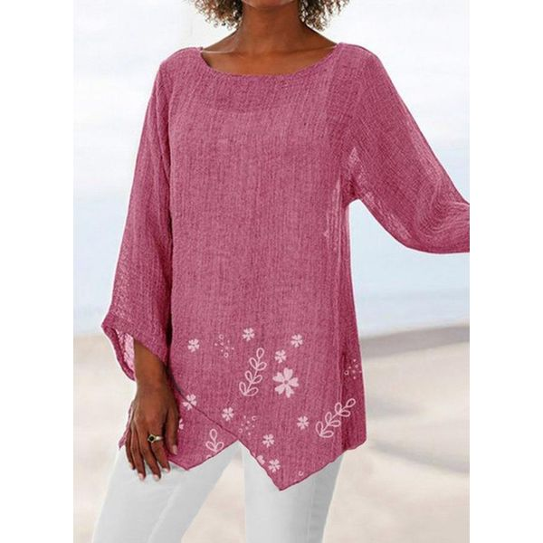 Floral Casual Round Neckline 3/4 Sleeves Blouses (1645581543)