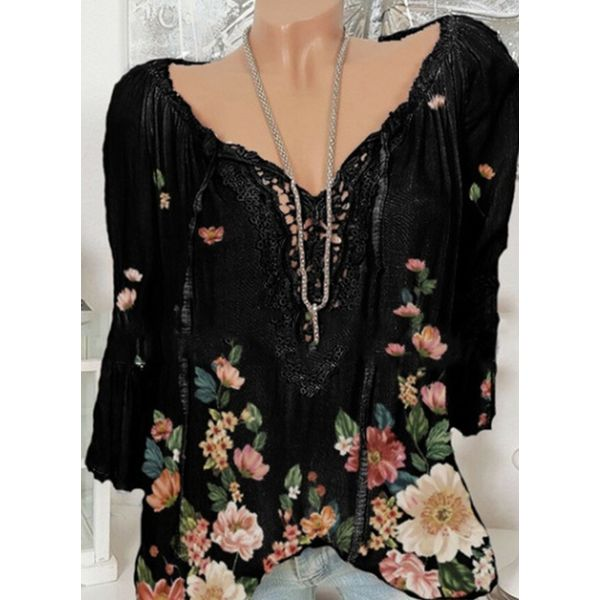 Floral Casual Round Neckline Long Sleeve Blouses (1645591456)