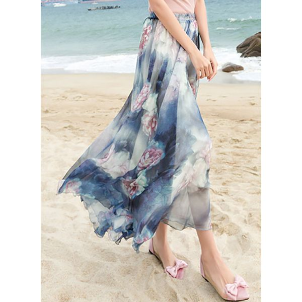 Floral Mid-Calf Casual Skirts (1725383120) 3
