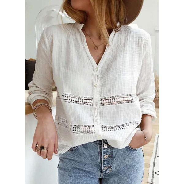 Solid Casual V-Neckline Long Sleeve Blouses (1645591188)