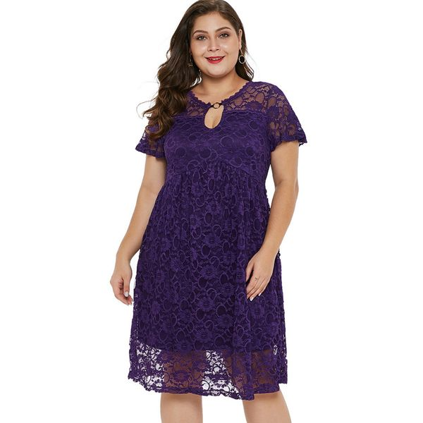 Plus Size Solid Lace Short Sleeve Knee-Length X-line Dress (1955382180) 3