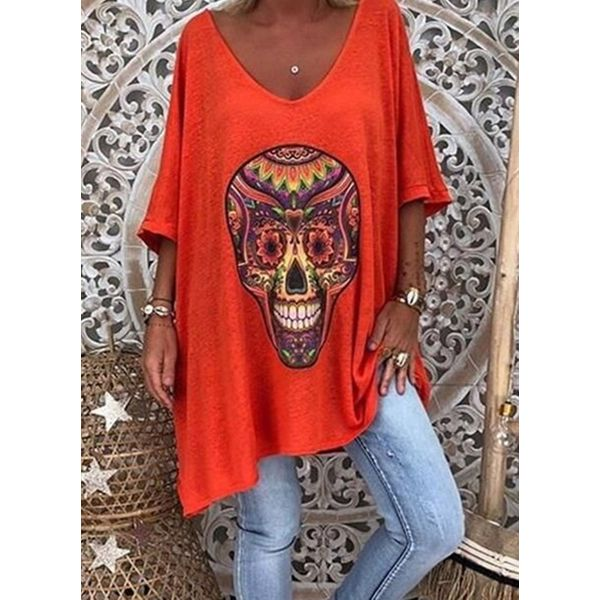 Character V-Neckline Casual Shift Blouses 3/4 Sleeves Plus Blouses (30355596511)