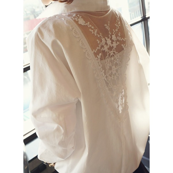 Solid Vintage Collar Long Sleeve Blouses (1645140998) 10