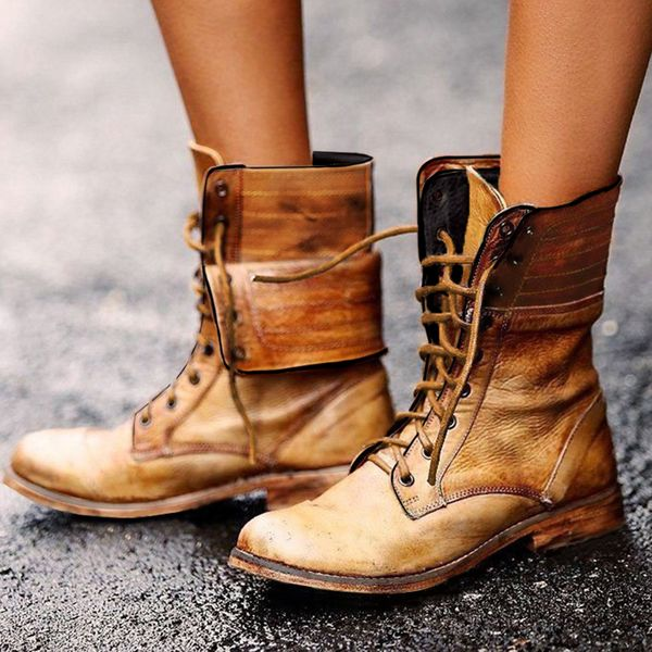 Women's Lace-up Ankle Boots Flat Heel Boots (1625471452)