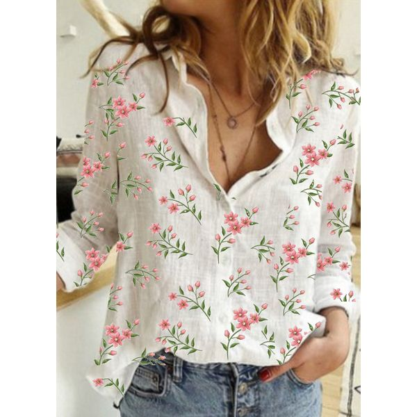 Floral Casual Collar Long Sleeve Blouses (1645598815)