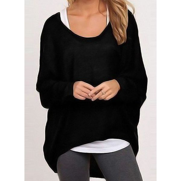 Round Neckline Solid Loose Long None Sweaters (1675351595) 4