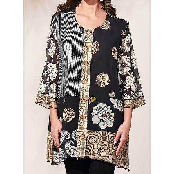Floral Round Neckline Casual Shift Blouses 3/4 Sleeves Plus Blouses (30355480500)