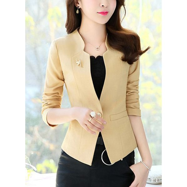 3/4 Sleeves V-neck Buttons Coats (1715380914) 9