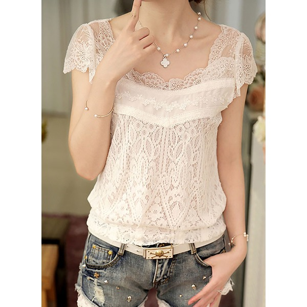 Solid Casual Square Neckline Sleeveless Blouses (1645276517) 2