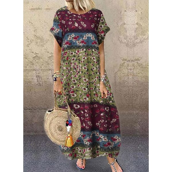 Casual Floral Tunic Round Neckline Shift Dress (1955572928)