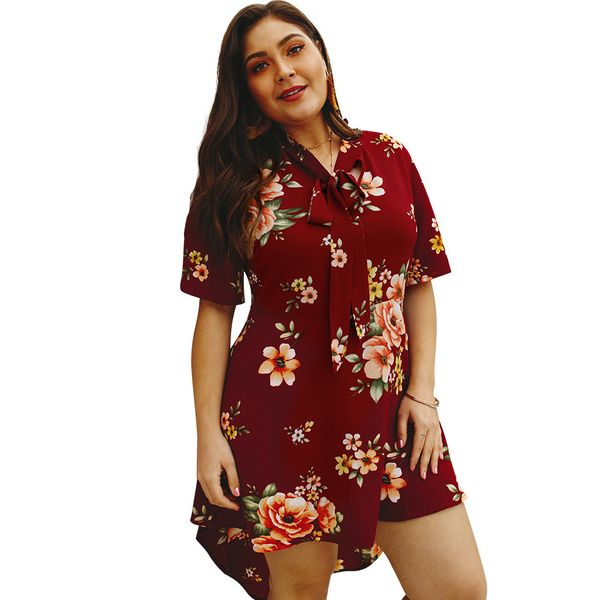 Plus Size Floral Half Sleeve Above Knee Shift Dress (1955380217) 2