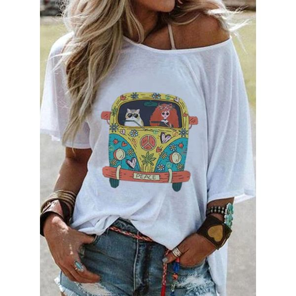 Character Round Neck Short Sleeve Casual T-shirts (1685574761)