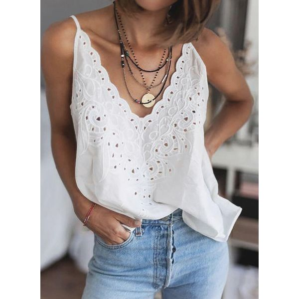 Solid Sexy Camisole Neckline Sleeveless Blouses (1645589156)