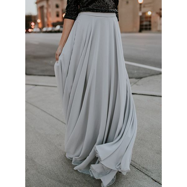 Solid Maxi Casual Skirts (1725383117) 6
