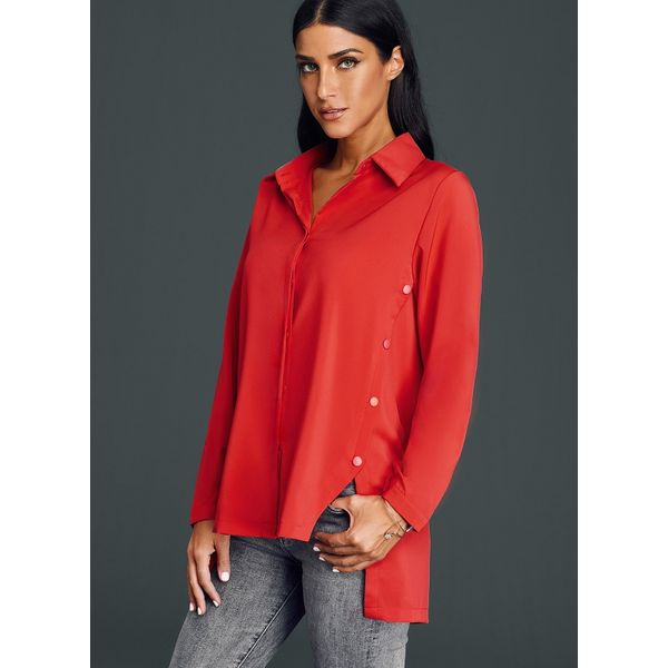 Solid Casual Collar Long Sleeve Blouses (01645379410) 3