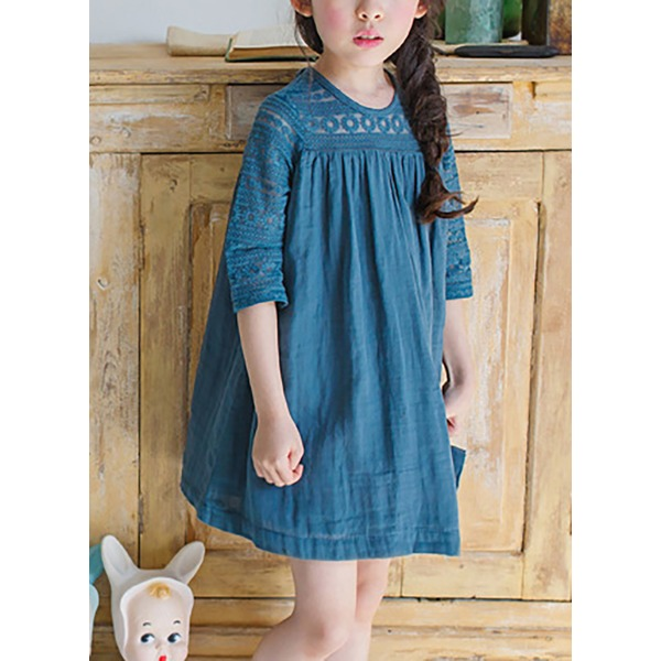 Girls' Solid Daily Half Sleeve Dresses (30135284891) 1