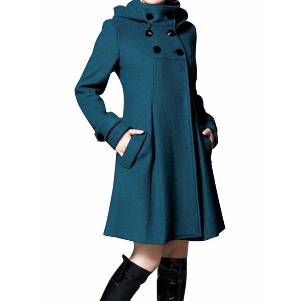 Long Sleeve Hooded Buttons Pockets Coats (1715365748) 11