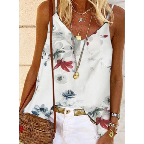 Floral Casual Camisole Neckline Sleeveless Blouses (1645595976)