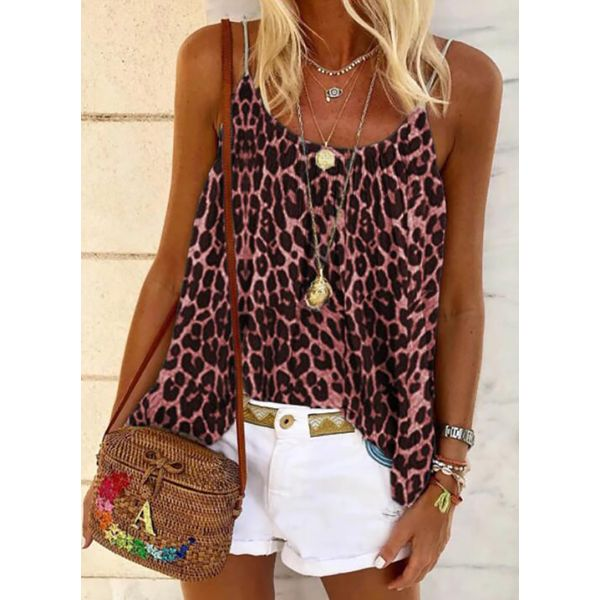 Leopard Casual Camisole Neckline Sleeveless Blouses (1645571964)
