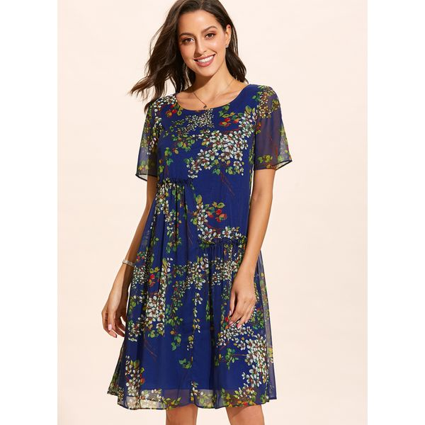 Casual Floral Others Round Neckline X-line Dress (01955409728)
