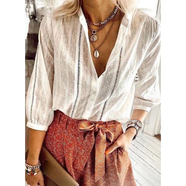 Solid Casual V-Neckline 3/4 Sleeves Blouses (1645595764)