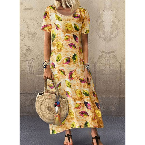 Casual Floral Tunic Round Neckline A-line Dress (1955597036)