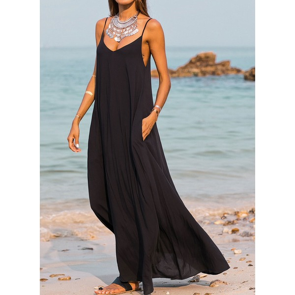 Solid Sleeveless Maxi A-line Dress (01955260283) 4