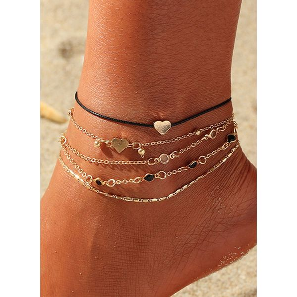 Casual No Stone Heart Round Anklet (1905563086)