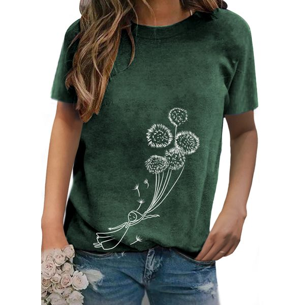 Floral Round Neck Short Sleeve Casual T-shirts (1685597670)
