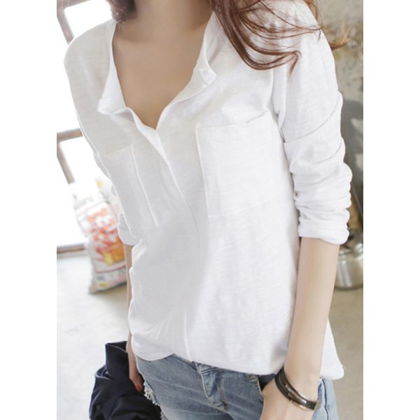 Solid Casual V-Neckline Long Sleeve Blouses (1645379104) 6