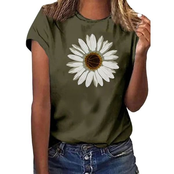 Floral Round Neck Short Sleeve Casual T-shirts (1685597704)