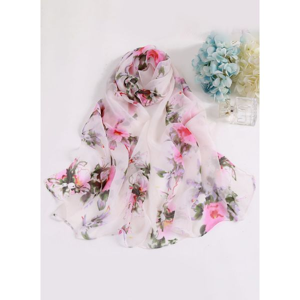 Casual Floral Scarves (1775408227, White