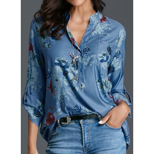 Floral Casual Stand Collar Long Sleeve Blouses (01645374503) 6
