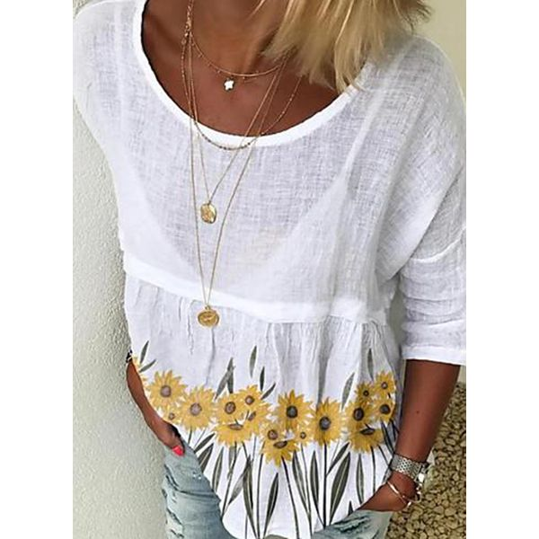 Floral Casual Round Neckline 3/4 Sleeves Blouses (1645599073)