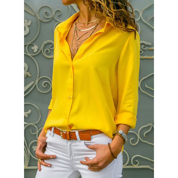 Solid Casual Collar Long Sleeve Blouses (1645557261)