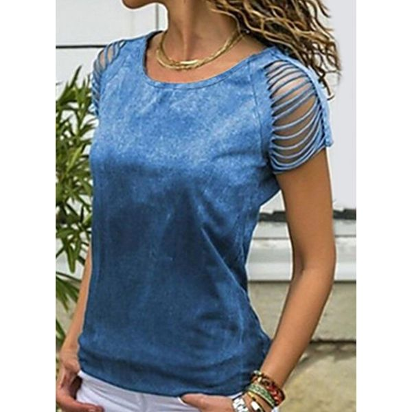 Solid Round Neck Short Sleeve Casual T-shirts (1685564610)