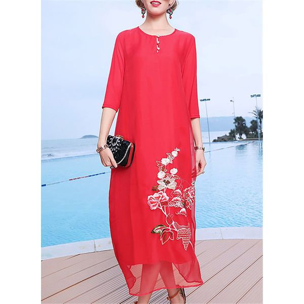 Floral Buttons 3/4 Sleeves Maxi Shift Dress (1955378309) 11