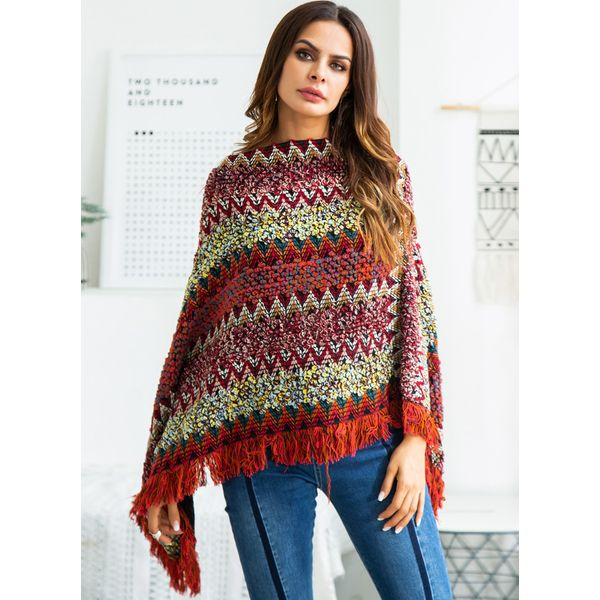 V-Neckline Color Block Cape Loose Long Tassel Shift Sweaters (1675380143) 10