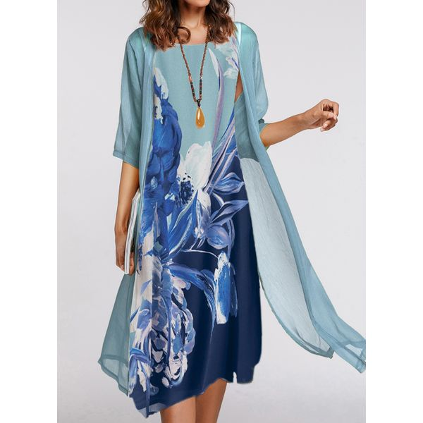 Casual Floral Wrap Tunic A-line Dress (1955430323)