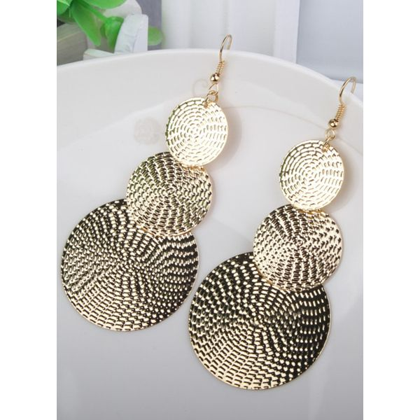 Round No Stone Dangle Earrings (1855394330, Black;gold;silver