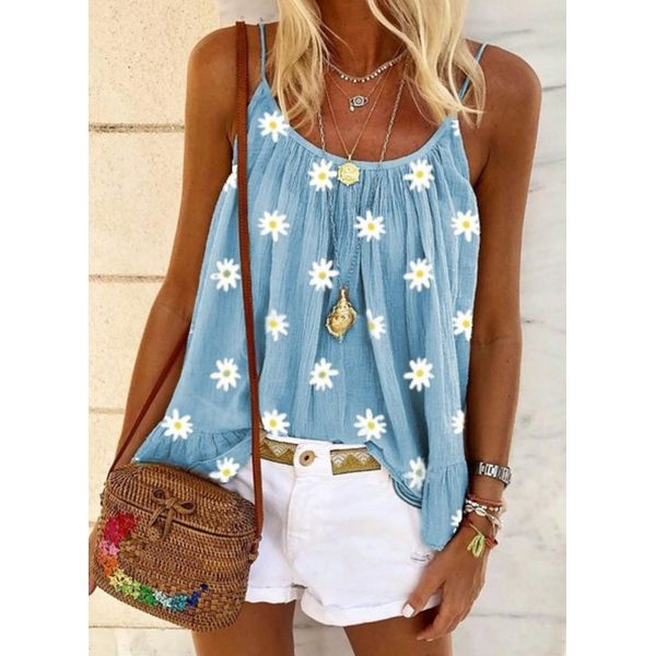 Floral Casual Camisole Neckline Sleeveless Blouses (1645579164)