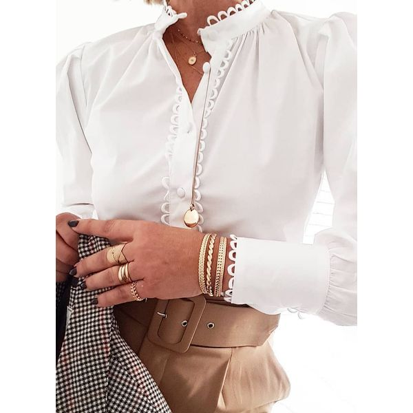 Solid Casual V-Neckline Long Sleeve Blouses (1645523889)