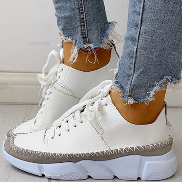 Women's Lace-up Closed Toe Leatherette Wedge Heel Sneakers (1625591260)