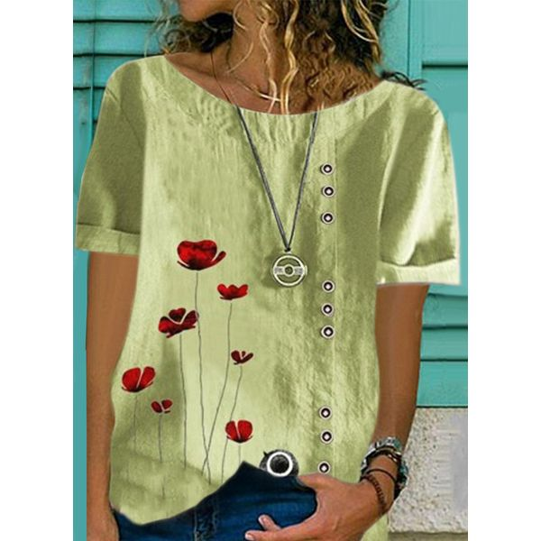 Floral Casual Round Neckline Short Sleeve Blouses (1645598812)