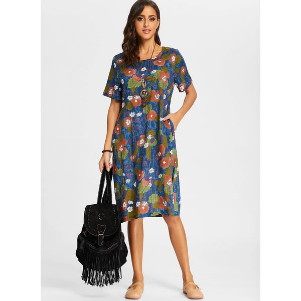 Floral Short Sleeve Midi Shift Dress (01955381903) 4