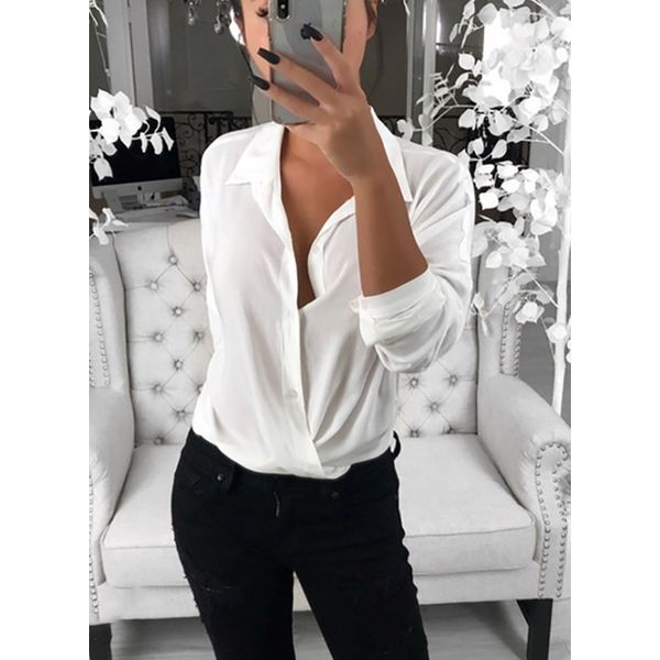 Solid Casual Collar Long Sleeve Blouses (1645382409) 3